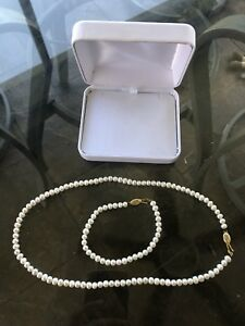 Freshwater Pearl Necklace AND Bracelet Set 14kt gold Clasp