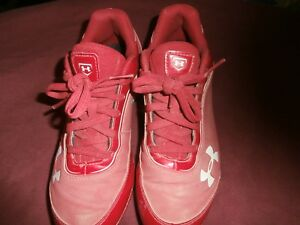 Youth Size 3Y Under Armour Baseball ShoesRubber Red CLEAN!