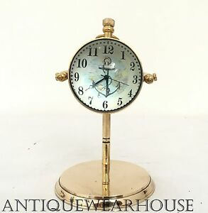 Collectible Solid Brass Working Desktop Clock Vintage Nautical Tabletop Clock