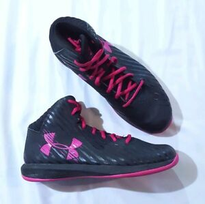 Under Armour Basketball Sneakers Boys Girls Sz 7Y Black Pink Laces Hi-Top Shoes