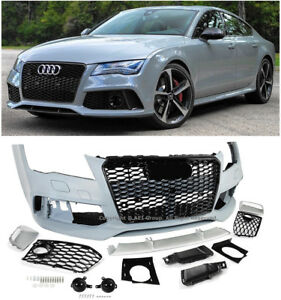 RS7 Style Front Bumper Cover Black Trim Grille Set For 12-15 Audi A7 S7 WO PDC