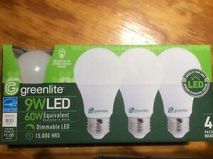 4 LED Light Bulbs GREENLITE 60Watt Equivalent Soft White (3000K) A19 Dimmable