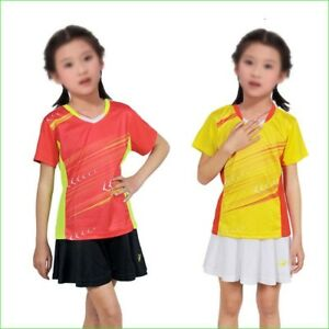 Children Tennis Skirt T Shirt Set Girls Solid Polyester Summer Running Sports