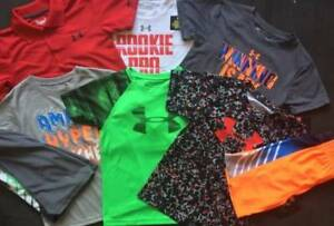 BOYS SIZE 5 UNDER ARMOUR  LOT OF OUTFITS SHIRTS & SHORTS NWT