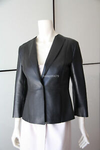 genuine leather women black new fashion professional girls jacket coat