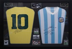 PELE & MARADONA SIGNED FRAMED SHIRTS. THE BEST EVER £749