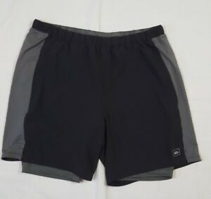 REI mens XL black  gray athletic running shorts 2 in 1 with liner