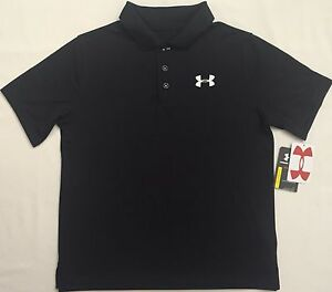 NWT youth Boys' YSM small UNDER ARMOUR knit POLO heatgear GOLF shirt BLACK UA