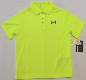 NWT youth Boys' YLG large UNDER ARMOUR knit POLO heatgear GOLF shirt NEON UA