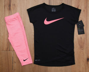 Nike Girl T-Shirt and Capri Leggings Set ~ Dri-Fit ~ Black Pink