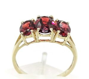 VINTAGE BEAUTY & STYLE-Stunning Trio of Bright Orangered Garnets-9ct Gold Ring