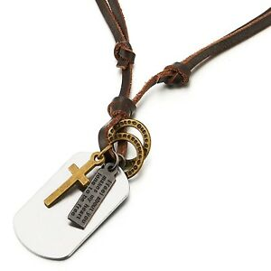 Cross Dog Tag Pendant Necklace for Men Boys with Adjustable Brown Leather Cord