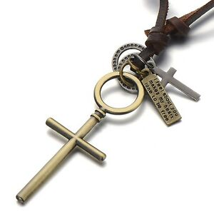 Vintage Cross Pendant Necklace for Men Women with Adjustable Leather Cord