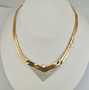 Retro Diamond Necklace 14K Yellow 18K White Gold Italy Hallmarked Sande