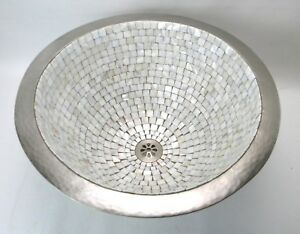 Linkasink White Bronze Mother of Pearl Mosaic *GORGEOUS* 16
