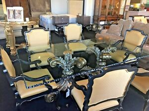 DESIGNER CUSTOM DINING SET 6 ARM CHAIRS + GLASS TOP DOUBLE PEDASTAL MSRP $36000
