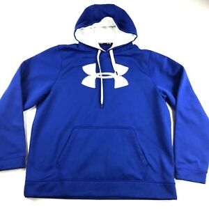 Under Armour Storm Hoodie Pullover Blue Mens Sz XL Loose Fit Hooded- DAMAGED