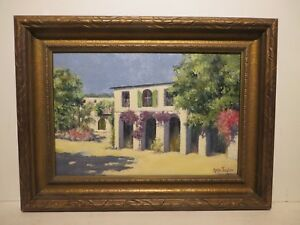12x18 org.1927 oil painting by Rolla Taylor of The Old Gvnr. Mansion San Antonio