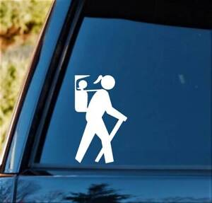 Hiker Girl w/ Daughter in Backpack Carrier Decal Sticker H1130 Camper Camping