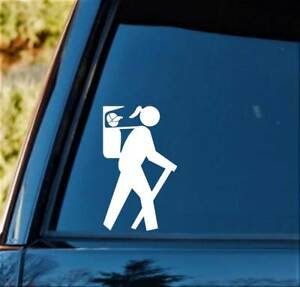 Hiker Girl w/ Boy Son in Backpack Carrier Decal Sticker H1131 Camper Camping