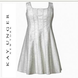 NWT Kay Unger Silver Shimmer & White Cocktail Dress Fit & Flare Sz 18