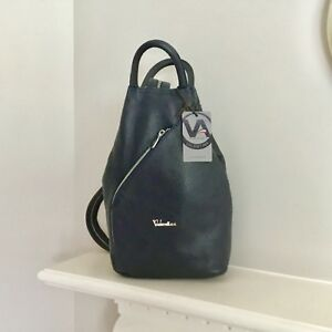 New VALENTINA Leather Dark Blue Handbag Backpack Made in Italy