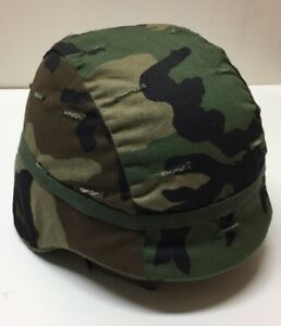 DuPont  US ARMY ISSUE KEVLAR HELMET WITH WOODLAND CAMO COVER - MEDIUM.  B3b
