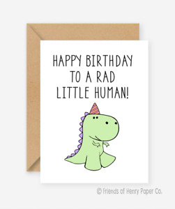 Funny kids card Dinosaur card Friends of Henry Birthday card Recycled AU $7.00