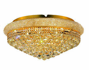 1800 Primo Collection Flush Mount D28in H13in Lt:15 Gold Finish (Royal Cut Cr...