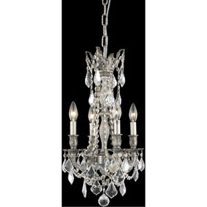 9204 Rosalia Collection Pendant D:13in H:22in Lt:4 Pewter Finish (Spectra Swa...