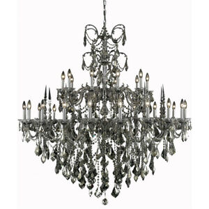 9730 Athena Collection Chandelier D:53in H:54in Lt:30 Pewter Finish (Swarovsk...