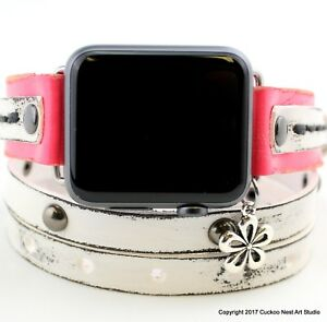 Pink and white leather apple watch strap Pink wrap watch Pink leather bracelet