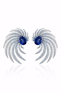 Blue oval red carpet style earring studs statement 925 sterling silver cocktail