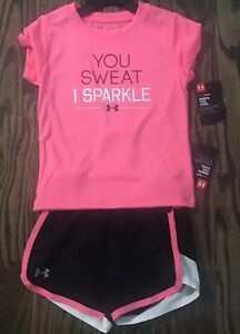 Toddler girls  Under Armour UA shirt shorts outfit size 2t NEW