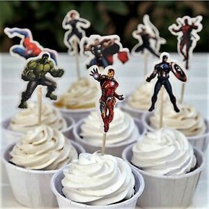 Avengers/ Superheroes Cupcake Double-Sided Toppers/Food Picks Set Of 24