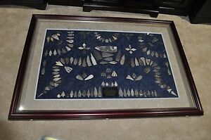 Large RARE American Texas Arrowheads Artifact framed collection Museum Quality