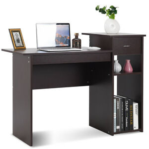 Computer Desk PC Laptop Table w Drawer and Shelf Home Office Furniture Espresso