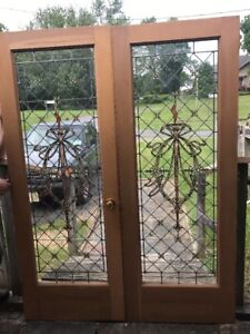 """Arche Match Pair Antique Stained Leaded French Doors 5' X 80"""""""
