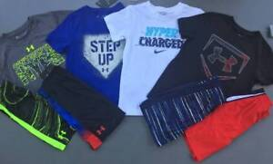 BOY'S 6XS UNDER ARMOURNIKE LOT OF 8 ITEMS SHIRTS & SHORTS BASEBALL OUTFITS NWT