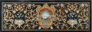 8'x4' Black Marble Dining Table Marquetry Inlaid Design Furniture Deecor H5266