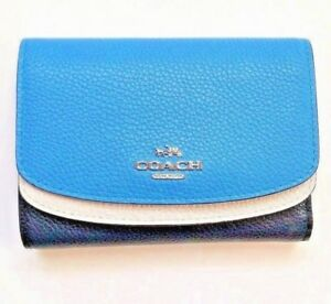 NEW COACH Women Blue White Colorblock Trifold Pebble Leather Wallet Medium