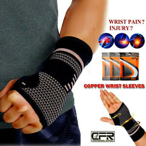 Copper Wrist Brace Hand Support Gloves Carpal Tunnel Splint RSI Sprain Pain US