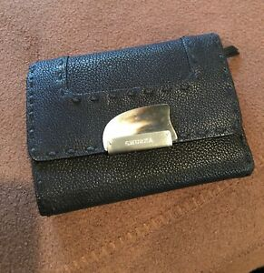 GHURKA WOMENS NEW BLACK LEATHER TRI-FOLD WALLETCREDIT CARD CASE NEW $495