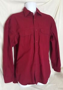 Work N' Sport Men's L Large Button Front Shirt Red career trades Cranberry