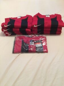 9 x Nike Dri-Fit Men's Adult Milan Red Football Shirts Tops Large Squad Numbers