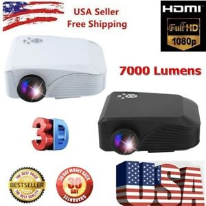 3D Full HD 1080P Projector LED Multimedia LCD Home Theater USB HDMI 7000 LMs BT