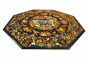 72'' Scagliola Inlay Work Dining Table Black Marble Top Occasiona