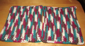 Handmade By Grandma Crocheted Double Thick Pot Holder Sets With Pocket
