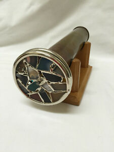Vintage Janice Chesnik Brass Double Wheel Kaleidoscope