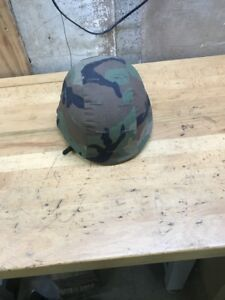 U.S. ARMY HELMET MADE WITH KEVLAR PASGT W CAMO COVER SIZE Small
